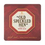 Old Speckled Hen beermat. Isolated on white background. Stock Images