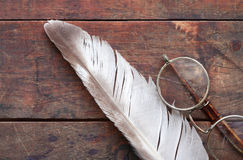 Old Spectacles And Quill Royalty Free Stock Images