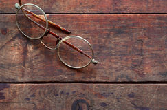 Old Spectacles On Wood Stock Image