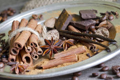 Old spices cinnamon and anise Royalty Free Stock Photos