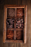 Old spicy box full of chocolate Royalty Free Stock Images