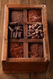 Old spicy box full of chocolate Stock Images