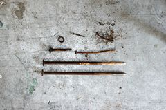 Old spike. Tool, garage, dirty Royalty Free Stock Photo