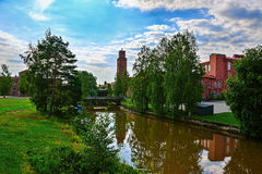 Old spinning mill buildings of red brick Stock Images