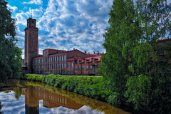 Old spinning mill buildings of red brick Royalty Free Stock Photo