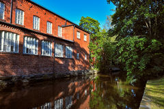 Old spinning mill buildings of red brick Stock Photography