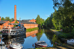 Old spinning mill buildings of red brick Stock Photo