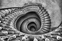 Spiral stairs. Old spiral stairs black and white Royalty Free Stock Photos