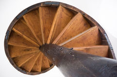 Old spiral wood stairs. Spiral old wood stairs taken in Turnul Chindiei from Tirgoviste, Romania Stock Photography