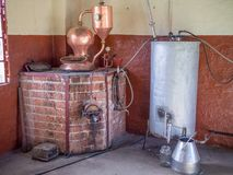 Old spirit or schnaps distillery equipment on vinyard in Namibia, Southern Africa.  Stock Images