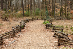 Split Rail Fence Around Wood Chip Trail Stock Image