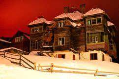 Old spooky house. Old spookey house in the night on winter season somewere in Dracula`s country, Romania Stock Image