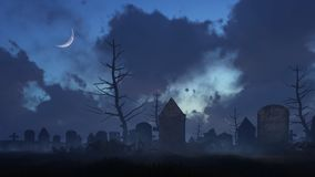 Old spooky graveyard at moonlight night. Abandoned spooky graveyard with old decaying tombstones at dark foggy night with half moon in sky. Halloween horror 3D Royalty Free Stock Image