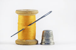 Old spool of thread Stock Photo