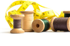 Old spools of thread. Isolated on white Royalty Free Stock Photos