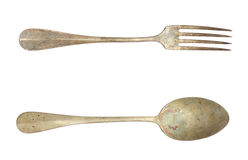 Old spoon and fork Royalty Free Stock Image