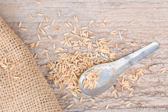 Old spoon with wooden. Royalty Free Stock Photo