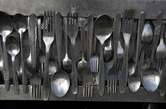 Old spoons and forks Royalty Free Stock Photos