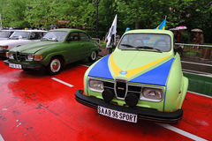 Old sport car SAAB and other cars at Retro Fest in Moscow Royalty Free Stock Photos