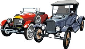 Old sport cars (my original design). Isolated on the white background Stock Photo