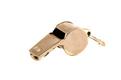 Old sport metal whistle isolated on white Royalty Free Stock Photography