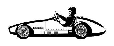 Old sports car. Vector illustration of retro formula 1 racing car Stock Photos