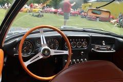 Old sports car cockpit. Interior cabin. 1960s silver Lamborghini 350 gt superleggera sports car. 2013 belle macchine ditalia, poconos, pennsylvania Stock Photography