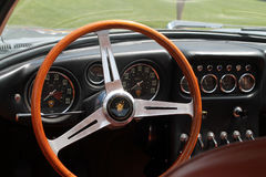 Old sports car cockpit. Interior cabin. 1960s silver Lamborghini 350 gt superleggera sports car. 2013 belle macchine ditalia, poconos, pennsylvania Stock Image