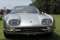 Old sports car. Front closeup detail. 1960s silver Lamborghini 350 GT Superleggera sports car Royalty Free Stock Image