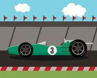 Old sports car on race track Royalty Free Stock Image