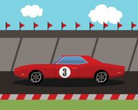 Old sports car on race track Royalty Free Stock Images