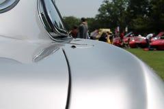 Old sports car rear detail. Rear shoulderline detail. 1960s silver Lamborghini 350 gt superleggera sports car. 2013 belle macchine ditalia, poconos, pennsylvania Stock Image