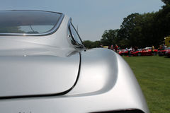 Old sports car rear detail. Rear shoulderline detail. 1960s silver Lamborghini 350 gt superleggera sports car. 2013 belle macchine ditalia, poconos, pennsylvania Royalty Free Stock Image