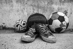 Old sports equipment vintage. stock image