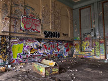 Old sports hall with graffiti Stock Image