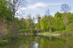Old spring park with a pond and waterfall Royalty Free Stock Photo