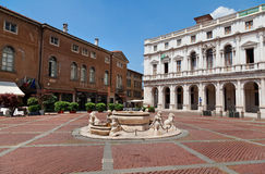 Old square of Bergamo, Lombardy, Italy Royalty Free Stock Photos