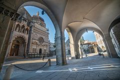 Old square of bergamo stock photo