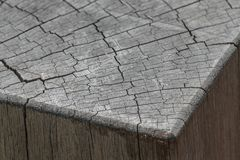 Old square-cut log of wood. With lots of splits - structure stock image