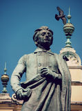 The Old Square in Krakow, Poland and Mickiewicz Monument Stock Photos