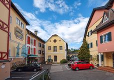 Old square with the patched asphalt. Millstatt, Austria Royalty Free Stock Image