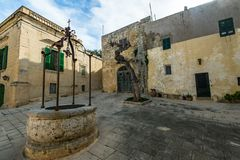 Old square in Silent City of Mdina,Malta.  Royalty Free Stock Photos