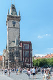 Old square tower, Prague, Czech Republic. Astronomical clock tower in old town square, Prague, Czech Republic Royalty Free Stock Photography