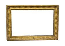 Old square wooden picture frame in gold colour. This kind of frames were mostly used for oil paintings stock photo