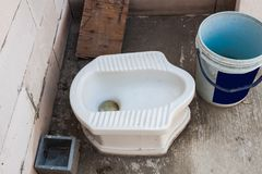 Old Squat toilet. Royalty Free Stock Images