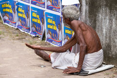 Old Sri Lankan beggar man Stock Images