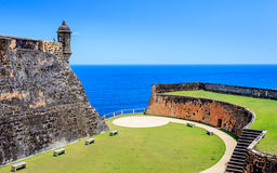 Old St Juan. Puerto Rico, blue sky and ocean, old castle Stock Images