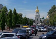 Free Old St. Sophia Church, Busy Modern Street. Kiev. Stock Images - 107493864