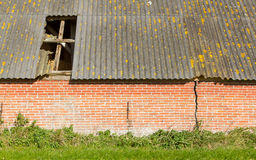 Old stable roof collapsed Royalty Free Stock Photos
