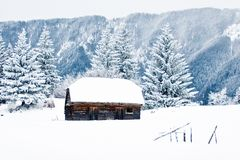 Old stable in winter Royalty Free Stock Images